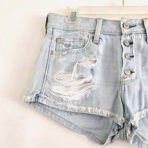 abercrombie & fitch Distressed Button Jean Shorts